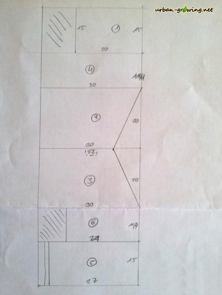Schnittplan für einen Nistkasten - www.urban-growing.net