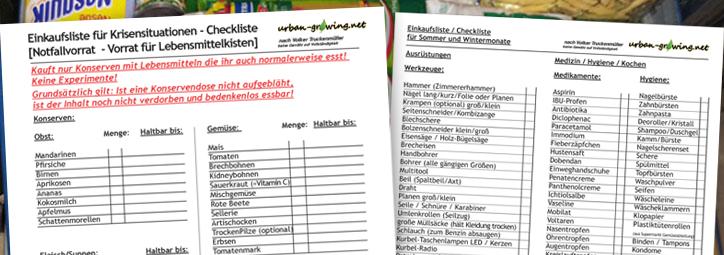 Notfallchecklisten, Einkaufslisten, Notvorräte - www.urban-growing.net