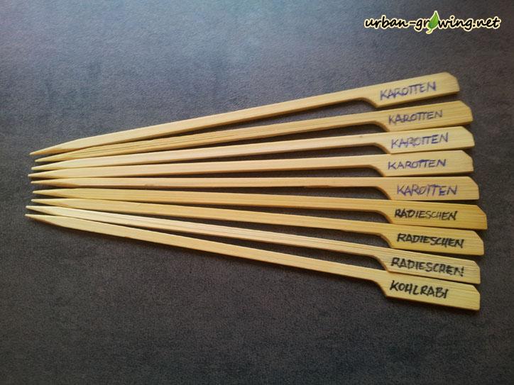 Dekorative Pflanzenstecker aus Bambus selber machen - www.urban-growing.net