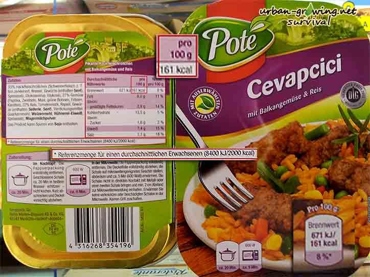MRE - EPA selbst gemacht, Fertiggericht Cevapcici mit Reis, www.urban-growing.net Copyright Volker Truckenmüller