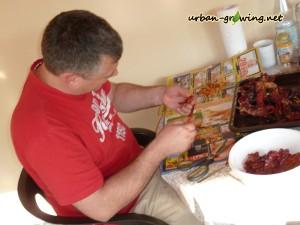 Paprika für Paprikapulver vorbereiten