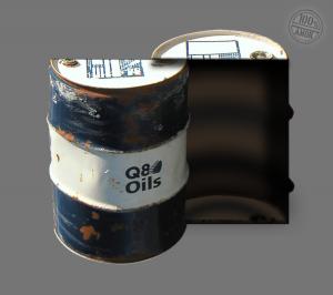 halbiertes und zusammen geschweisstes Ölfass