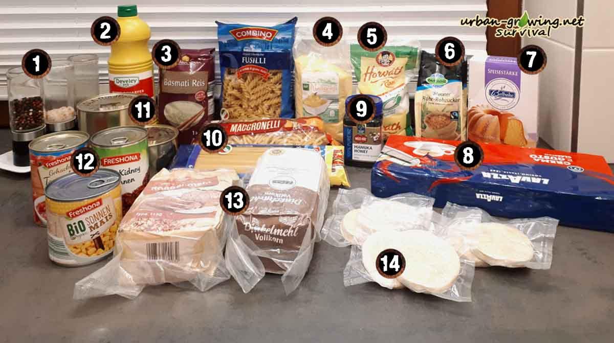 Lebensmittel die fast unbegrenzt haltbar sind und mehrere Jahre nicht verderben, Notvorrat, Krisenvorsorge, www.urban-growing.net, copyright Volker Truckenmüller